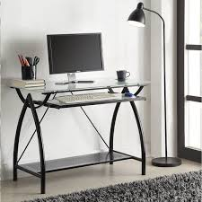 Glass Top Computer Desks For Home Office Products Black Metal Glass Top Desk With Keyboard Tray