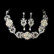 swarovski necklace set images Swarovski and freshwater pearl wedding choker set gif