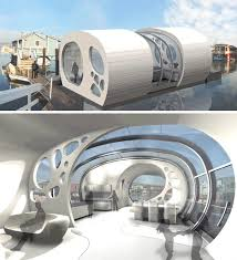 Organic Architecture Floor Plans by Open Houseboat New Sea Shell Shaped Lake U0026 River Home
