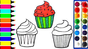 watermelon cupcake coloring pages art colors for kids draw