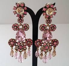 Pink Chandelier Earrings Oscar De La Renta Pink Floral Chandelier Earrings Catawiki