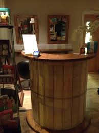 Salon Front Desk Furniture Salon Reception Desk Made From A Cable Reel Drum Not A Cable Reel