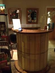 Desks Reception Desks For Salons Salon Reception Desk Made From A Cable Reel Drum Not A Cable Reel