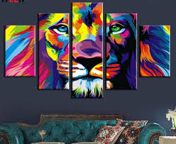 imagenes abstractas hd de animales 5 piece color print lion king animal abstract painting modern home