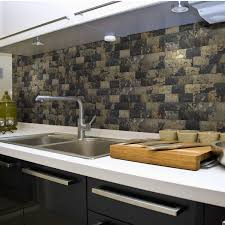 decor brown kitchen cabinets with peel and stick mosaic tile