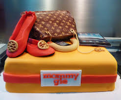 lv bag and tory burch shoe cake little