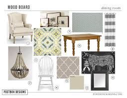 mood board for a cottage style dining room design www