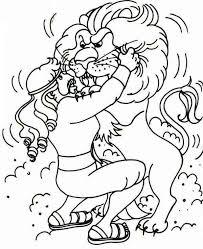 cartoon samson struggle lion coloring cartoon