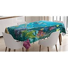 Teal Table L Mermaid Decor Tablecloth By Ambesonne Illustration
