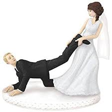 dragging groom cake topper comical leg puller wedding cake topper party supply