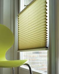 interior design glass window with horizontal white bali blinds on