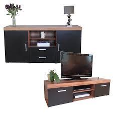 Living Room Furniture Sets Tv Black U0026 Walnut Sydney Large Sideboard U0026 Tv Cabinet 140cm Unit