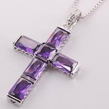 purple gemstone necklace images Purple amethyst cross necklace jpg