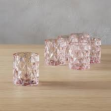 set of 6 betty pink tea light candle holders cb2