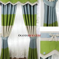 Blue Valance Curtains Green And Blue Stitching Poly Cotton Blend Blackout Curtain