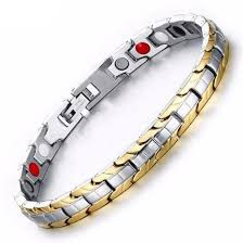 bracelet magnetic images Women 39 s magnetic therapy two toned gold silver stainless steel jpg