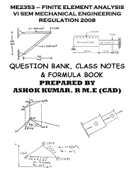 fea question with class notes and formula book finite element