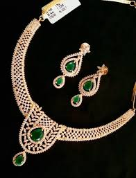 gold green necklace images Gold necklace with white and green stones south india jewels jpg