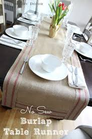 no sew burlap u0026 jute table runner driven by decor