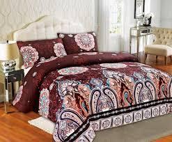 tache burgundy palace fancy patterned rustic paisley floral duvet