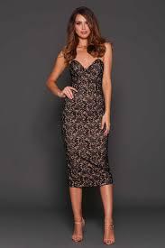 elle zeitoune tea length ashton strapless lace midi dress