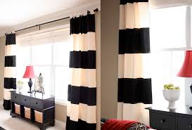 Black And White Stripe Curtains Endearing Big White Bay Window Design With Remarkable Soft Black