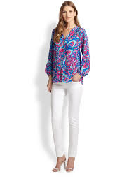 Lilly Pulitzer Swell Lilly Pulitzer Printed Silk Elsa Top In Blue Lyst