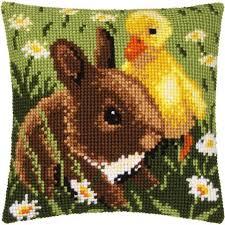 vervaco rabbit pillow cover needlepoint