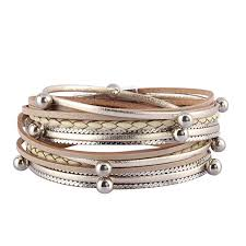 silver leather wrap bracelet images Jenia women leather cuff bracelet silver beads jpg