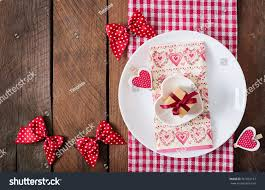 Romantic Table Settings Romantic Table Setting Valentines Day Rustic Stock Photo 361062152