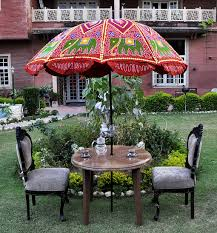indian garden umbrella elephant embroidered cotton red outdoor