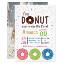 doughnut birthday party invitations u0026 announcements zazzle canada