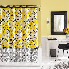 Yellow And White Shower Curtain Yellow Black And White Shower Curtain Flowers Quotes Ideas