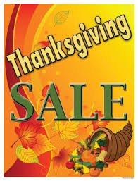 thanksgiving sale window poster 25 x 33 signage