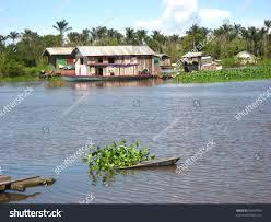 floating houses floating houses amazon region not far stock photo 99469703