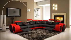 sofa red and black sectional modern red leather sectional sofa