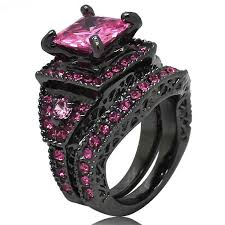 pink and black engagement rings square pink cubic zirconia black diamond ring for women size 6 7 8
