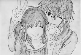 gallery easy anime couples drawings in pencil drawing art gallery