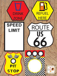 themed signs race car themed printable party road signs in microsoft word