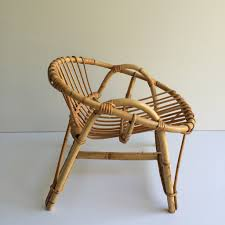 1950s vintage rattan full wicker kid u0027s chair fauteuil rotin