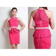 neck lace details peplum dress pink s