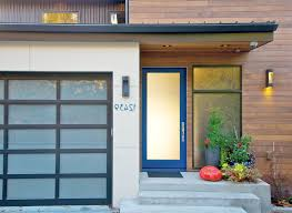 basement exterior door entry contemporary with modern house blue
