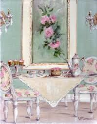 original whimsical painting shabby chic high tea postage is