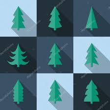 flat icon set of christmas trees u2014 stock vector aksenova yu