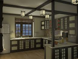 Hand Made Kitchen Cabinets Pretty Handmade Hanging Lights Over U Shaped Traditional Japanese