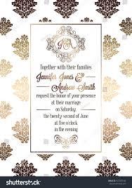 Marriage Invitation Card Templates Vintage Baroque Style Wedding Invitation Card Stock Vector