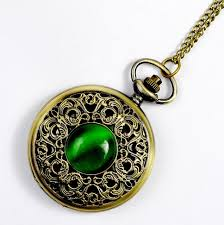 quartz necklace watch images New big vintage emerald stone pocket watch green necklace woman jpg