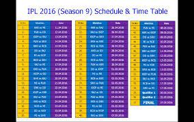 2016 ipl match list ipl 2016 schedule time table season 9 youtube