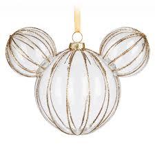 mickey mouse icon glass ornament golden rib shopdisney