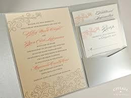 blush peach coral u0026 silver vintage flourish pocket folder wedding